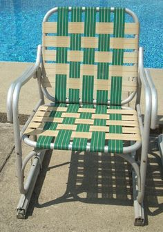 Vintage Aluminum Lawn Chair With Blue Webbing Vintage