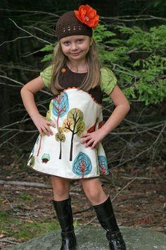 Woodland Owl Dress Jumper 12mos - 8. $42.00, via Etsy.