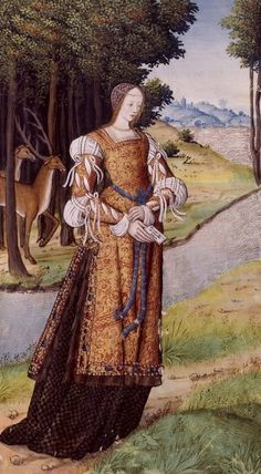 I love the tabard over gown and the sleeves are too die for! Epistulae heroidum (Octavien de Saint-Gelais) by Robinet Testard, Cognac, 1496-98
