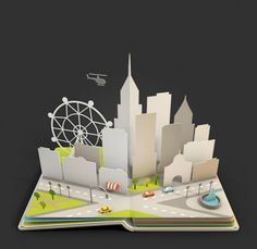 3D Rendered Pop-Up Pages of Beautiful Landscapes by Anna Paschenko - What an ART
