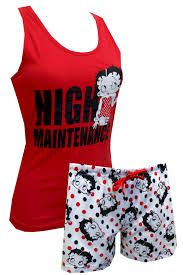 Know a girl who likes the finer things in life? These camisole and sleep short sets for women feature Betty Boop sitting atop the phrase 'High Maintenance'. Shorts have a fun polka dot pattern and waistband with drawstring. Betty Boop Purses, Betty Boop Pictures, Pajama Shorts, Lingerie Collection, Ladies Boutique, Types Of Fashion Styles, Pjs, Lounge Wear, Fashion Outfits