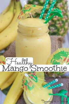 Mango Smoothie Healthy, Mango Pineapple Smoothie, Mango Smoothie Recipes, Smoothie Popsicles, Vegan Smoothies, Juice Smoothie, Smoothie Bowl, Fruit Smoothies, Healthy Snacks