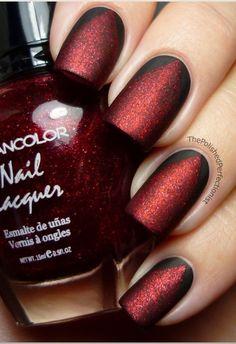 Matte Red Black Nail Polish | See more nail designs at http://www.nailsss.com/acrylic-nails-ideas/2/