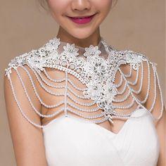 Bride Diamond Pearl Bead Flower Lace Shoulder Chain Bridal Wedding Dress Accessories