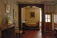 A bedroom in the Bonaparte house in Ajaccio with the other Alabastro di Busca fireplace. Piedmont Region, Three Floor, Turin, France, Flooring, Mirror, Bedroom, House Interiors, Furniture