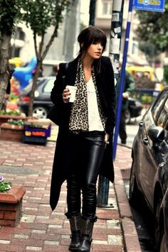 Effortless - I would wear suede boots though. Not leather on leather