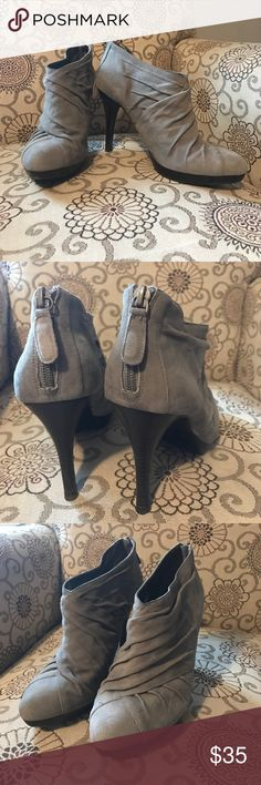 "Banana Republic grey suede booties EUC Grey Suede ankle boots. 3"" heel. Only worn twice. Banana Republic Shoes Ankle Boots & Booties"