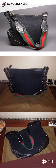 Gucci Black canvas Studded Hobo Made out of black monogram GG canvas, smooth black leather on trim and corner panels and gold tone hardware. Exterior is embellished with detail studs on the strap and bottom corners. Gucci horsebit decor on each side of strap. In excellent condition. I am the original owner. Purchased from Neiman Marcus. Comes from a smoke free home. Gucci Bags Hobos
