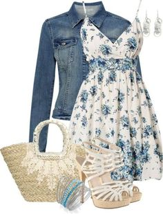 A fashion look from May 2013 featuring robe sans manches, veste en denim et chaussures & talon haut. Browse and shop related looks. Mode Outfits, Casual Outfits, Fashion Outfits, Womens Fashion, Floral Outfits, Dress Fashion, Fashion Trends, Fashionista Trends, Woman Outfits
