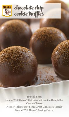 Chocolate Chip Cookie Truffles — Surprise your party guests with something new: CHOCOLATE CHIP COOKIE filled truffles! With easy instructions, this truffle variation using Nestle Toll House Refrigerated Chocolate Chip Cookie Dough is one sweet surprise that they'll never see coming, but is sure to please.