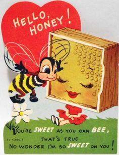 50s Anthropomorphic Honey Comb-Bee-Vintage  Valentine