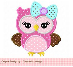 Cute girly owl with bow Applique -4x4 5x7 6x10-Machine Embroidery Applique Design. $2.99, via Etsy.