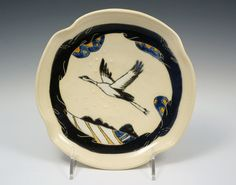 Decorative shalow bowl with flying crane in by AstaJoanaDesign