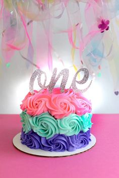 Purple, Teal and Pink Smash Cake