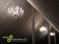 Our crystal chandeliers and custom tent liner for a wedding in Auburn Alabama.