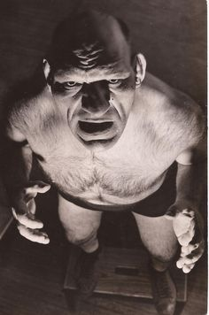 """Maurice Tillet: The French Angel the golden age of professional wrestling, Maurice Tillet was a definite standout that served as a mascot of sorts for wrestling enthusiasts. Tillet earned two nicknames in life: """"The French Angel"""", due to his. Greek Wrestling, Women's Wrestling, Angel In French, Angel Pictures, Crazy People, Strange People, Face Characters, Tough Guy, Mug Shots"""