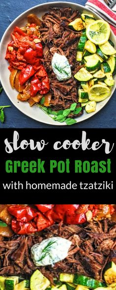 Slow Cooker Greek Pot Roast with Homemade Tzatziki