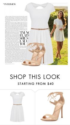 """White dress, nude accessories"" by ivanoe ❤ liked on Polyvore featuring maurices and Gianvito Rossi"
