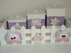 Kit Higiene Coruja e flores