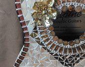 "Hand-Cut Glass Mosaic Guitar 30"""