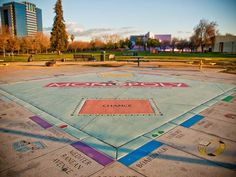 life size monopoly is a permanent installation in Guadalupe River Park, near the Children's Discovery Museum in San Jose, CA