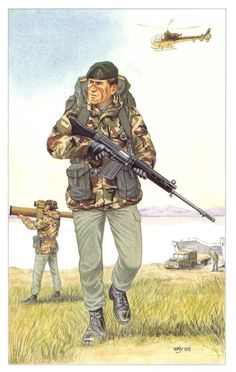 ICYMI: Postcard The Royal Marines, Blackshod Operations by Geoff White British Royal Marines, British Army Uniform, British Uniforms, British Soldier, Military Police, Military Art, Military History, Military Uniforms, Marine Commandos