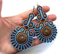 Soutache statement earrings (or studs or clip earrings) elegant, unusual and perfect for jeans - King's Stamp 1 and 2. $35.00, via Etsy.