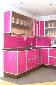Pink Kitchen Cabinets purple and pink kitchen colors adding retro vibe to modern kitchen