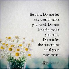 Be soft. Do not let the world make you hard. Do not let pain make you hate. Do not let the bitterness steal your sweetness. #powerofpositivity