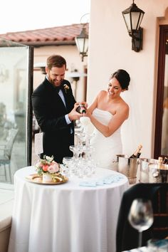 Dove and Matt's Elegant 11 Guest Santa Barbara Wedding. As per the bride's wish a Champagne tower. Ryanne Bee photography. See more @intimateweddings.com #reception #champagnetower.