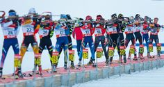 Athletes shoot during the IBU Biathlon World Cup Men's Pursuit in Annecy-Le Grand Bornand, France