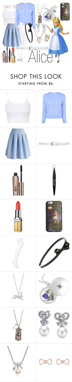 """""""Alice~ DisneyBound"""" by basic-disney ❤ liked on Polyvore featuring Topshop, L.K.Bennett, Chicwish, M&Co, Benefit, Maybelline, Elizabeth Arden, Marc by Marc Jacobs, L. Erickson and Joy Everley"""