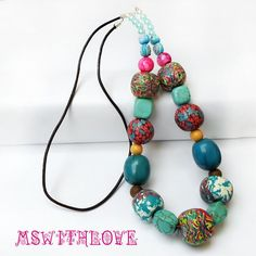 Handmade polymer clay necklace gypsy gemstone by MSwithlove