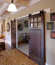 Sliding Barn Doors for Unique Interior Design Ideas. A barn door is a door characteristic of a barn. They are nearly always found on barns, and because of a barn's tendency it be immense, doors are subsequently big for utility. Style At Home, Contemporary Style Homes, Contemporary Barn, Modern Barn, Modern Decor, Rustic Modern, 3d Home, Interior Barn Doors, Craftsman Interior