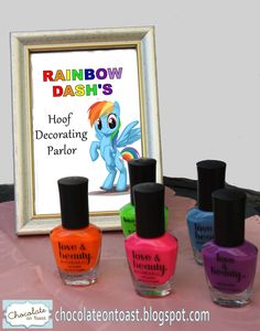 Rainbow manicure for a Rainbow Dash. My Little Pony birthday party. My girls would flip for this! Especially since they're only allowed to have crazy colors on special occasions. #supercute!!