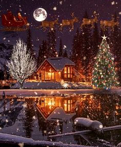 Christmas Tree Gif, Christmas Scenery, Merry Christmas To All, Christmas Night, Christmas Villages, Christmas Decorations, Xmas, Vintage Christmas Images, Christmas Pictures