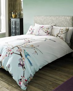 Flight of the Orient double duvet cover - Light Grey | Gifts for Her | Ted Baker UK