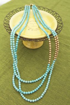 Long Layered Turquoise and Gold Beads