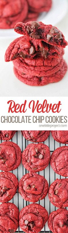 These red velvet chocolate chip cookies are SO GOOD! They're decadent, simple and end up looking gorgeous! They're red velvet chocolate chip cookies the perfect treat for any chocolate lover! Weight Watcher Desserts, Baking Recipes, Dessert Recipes, Cake Recipes, Recipes Dinner, Delicious Desserts, Yummy Food, Healthy Desserts, Healthy Meals