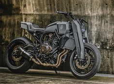 Onyx Blade by Rough Crafts -- With its sporty 689cc parallel twin, Yamaha's FZ-07 makes a versatile platform for customization. Taipei's Rough Crafts workshop took it to the limit with their muscular, matte-grey Onyx Blade. A completely custom-built tank, tail & front end section, new adjustable front shocks & stacks of other custom bits turned a stock, mid-weight street bike into a mean, traffic dodging machine.