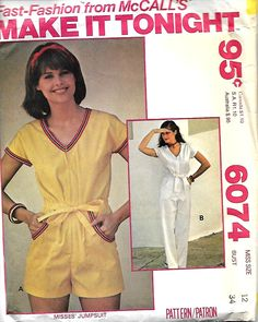 1970's McCall's 6074 Make It Tonight Misses Jumpsuit Sewing Pattern, Size 12, UNCUT by DawnsDesignBoutique on Etsy