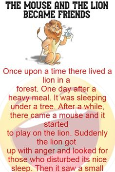 The mouse and the lion became friends - Funny Story Stories With Moral Lessons, English Moral Stories, Short Moral Stories, Very Short Stories, English Stories For Kids, Learning English For Kids, English Story, English Lessons For Kids, Learn English Words