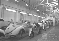 Rare photo from the Karmann factory, showing bodies being prepared for paint, approx mid 50'ies.