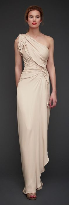 Jenny Packham Spring/Summer 2013. This nude beauty with pulled material torso is really pretty. I could see Stana Katic looking wonderful in this.