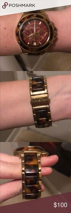 Michael Kors tortoise and gold watch 100% authentic Michael Kors tortoise shell and gold details watch. Needs new batteries but still in near perfect condition. For wrist of 6 in or smaller Michael Kors Accessories Watches