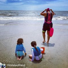 from @1fitstateofmind . . A beautiful day at the beach with my family. I was glad I got to do a short ocean swim and I loved the fact that my kids were there to see us swim. We want them to grow up with the idea that exercising and sports is something that you do as part of your day/life and something you enjoy.  . . . #teachthemyoung #ocean #triathlete #family #swim #wave #summer #ironman #augusta #georgia #beach #water #love #newwaveswimbuoy #triathlon #swimbikemom #trifecta #hot…