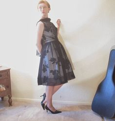 Mid Century Party Dress. Black White Floral. by ChatteJolie, $175.00
