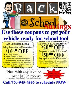 Fenski #Automotive Center's Back to School promotion valid through 9/30/14