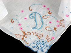 Vintage Madeira Embroidered Monogram D Linen  by littlebitvintage2, $15.00