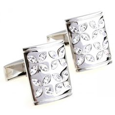 Romance white crystal rectangle cufflinks